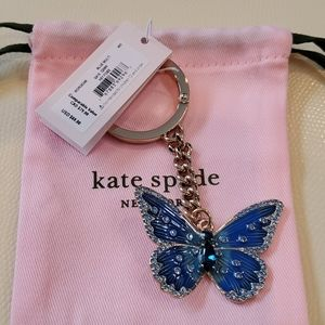New Kate Spade blue butterfly keychain